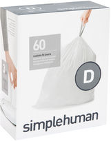 Simplehuman Custom-Fit Trash Can Liners Code D - 60-pack