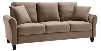 """Thumbnail for your product : Winston Porter Wyalusing 82.03"""" Flared Arm Sofa with Reversible Cushions Fabric: Brown"""