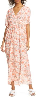 Zero Maria Cornejo Gia Floral Print Stretch Silk Midi Dress