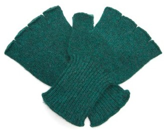The Elder Statesman Cashmere Fingerless Gloves - Green Multi