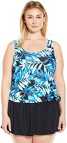 Maxine Of Hollywood Women's Plus-Size Tonal Leaf Swim Dress One Piece Swimsuit