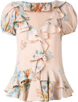 Alexander McQueen floral ruffled blouse - women - Silk/Polyamide - 40