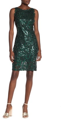Marina Sequin & Lace Sleeveless Dress