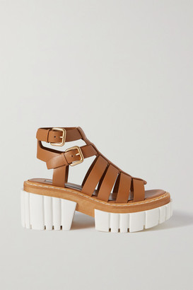 Stella McCartney Emilie Vegetarian Leather Platform Sandals - Tan