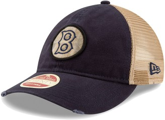 New Era Men's Navy Boston Red Sox Cooperstown Collection Front Patched Trucker 9TWENTY Adjustable Hat