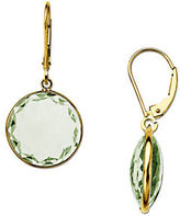 Lord & Taylor Green Amethyst Drop Earrings in 14 Kt. Yellow Gold