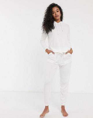 Women'secret waffle long sleeve loungewear top in winter white