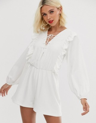 ASOS DESIGN lace up romper with ruffle detail
