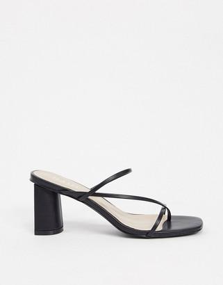 Raid Brioni skinny strap mule sandals in black