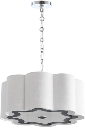 Jonathan Y Designs Coquille 4-Light 20In Adjustable Scalloped Shade Led Pendant