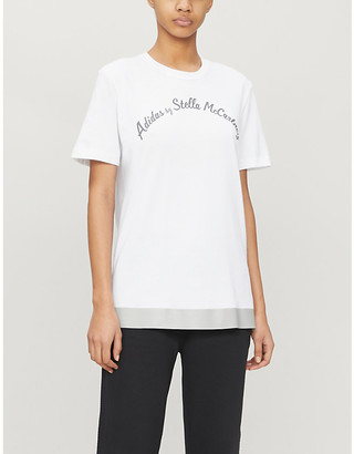 adidas by Stella McCartney Logo-print cotton-blend T-shirt