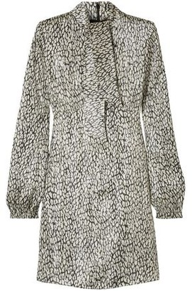 Saint Laurent Leopard-print Silk-blend Lame Mini Dress