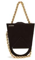 Jacquemus Upside-down triple-chain suede bag