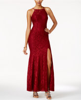 Speechless Juniors' Illusion Lace Side-Slit Gown