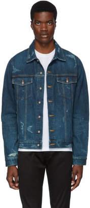 Balmain Blue Denim Logo Tape Jacket
