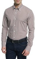 Neiman Marcus Gingham Long-Sleeve Sport Shirt, Brown