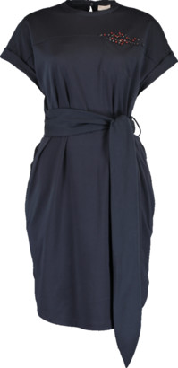 Brunello Cucinelli Crystal Martini Belted Dress