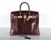 Hermes pristine (PR Bordeaux Porosus Crocodile 35cm Birkin Bag Gold Hardware, Special Order Red Chevre Interior