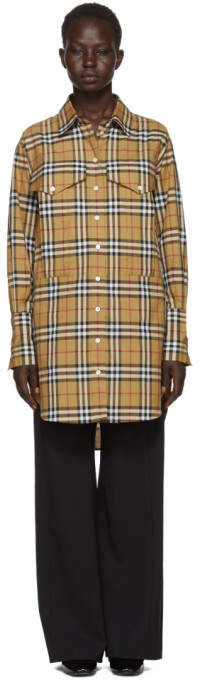 Burberry Beige Check Oversized Shirt