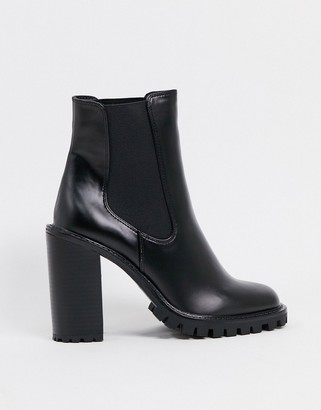 ASOS DESIGN Expect high heeled chunky chelsea boots in black