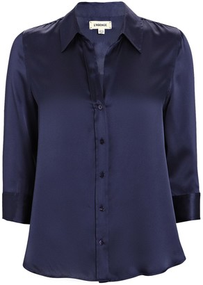 L'Agence Dani Silk Button-Down Shirt
