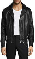 The Kooples Plush Collar Leather Jacket