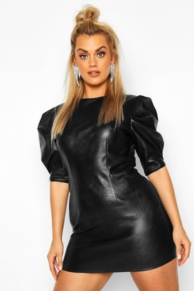 boohoo Plus Leather Look Puff Sleeve Shift Dress