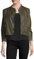 Rebecca Taylor Cropped Lamb Leather Moto Jacket, Olive