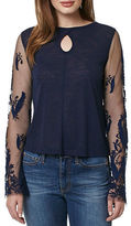 Buffalo David Bitton Laced Flower Mesh and Embroidered Top