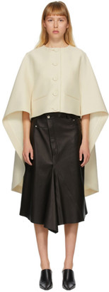 Lanvin Off-White Asymmetric Cape Jacket