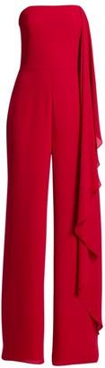 Halston Strapless Asymmetric Draped Jumpsuit