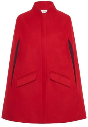 Allora Chelsea Wool Cashmere Cape - Poppy Red
