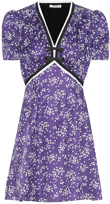 Miu Miu Floral silk-satin jacquard minidress