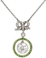 Belle Epoque Platinum 18K Yellow Gold Diamond Emerald Pendant