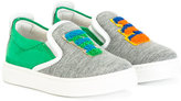 Fendi felt logo sneakers - kids - Cotton/Calf Leather/Leather/rubber - 24