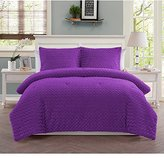 3 Piece Girls Neon Purple Faux Fur Theme Comforter Full Set, Girly Pretty All Over Soft Fuzzy Bedding, Bright Vibrant Solid Color Multi Embossed Houndstooth Themed Pattern, Violet Plum