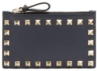 Valentino Rockstud Leather Cardholder - Womens - Navy