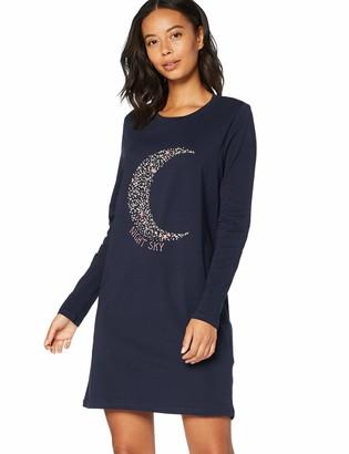 Iris & Lilly Amazon Brand Women's Long Sleeve Jersey Nightdress Blue (Night Sky) M Label:M