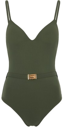 Tory Burch Olive Belted Swimsuit