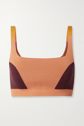 NAGNATA + Net Sustain Color-block Technical-knit Stretch Organic Cotton Sports Bra - Orange