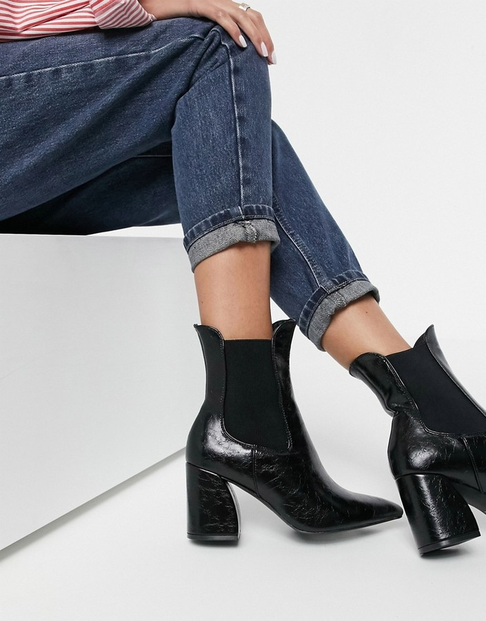 New Look curved heel high ankle chelsea boot in black