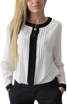 uxcell® Women Long Sleeve Round Neck Pleated Detail Casual Shirt M