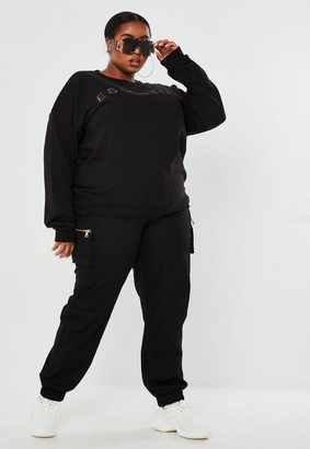 Missguided Plus Size Black Zip Pocket Cargo Pants