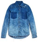 Blank NYC BLANKNYC Girls' Distressed Denim Shirt - Big Kid