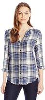 Calvin Klein Jeans Women's Ls V Neck Plaid Woven