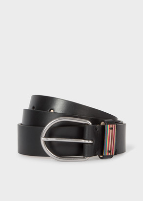 Paul Smith Men's Black Leather Belt With Signature Stripe Detail