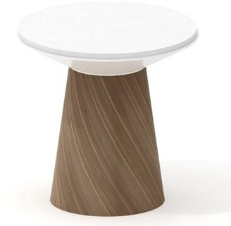 """Steelcase Campfire Turnstone 24.6"""" Round Paper Table Base Finish: Virginia Walnut, Style: Glass"""