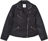 Mayoral Black Faux Leather and Nylon Biker Studded Jacket