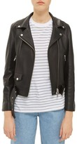 Topshop Women's Belted Leather Biker Jacket