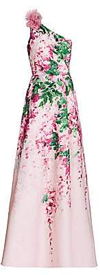 Marchesa Women's Floral Ruffle One-Shoulder Gown